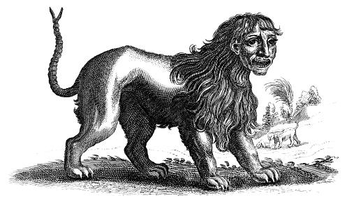 https://en.wikipedia.org/wiki/Manticore#/media/File:Martigora_engraving.jpg